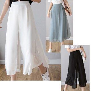 ワイドパンツ ルーズ 無地 涼し気 清涼感 スカートパンツ シンプル ナチュラル 40代 50代 夏 カジュアル