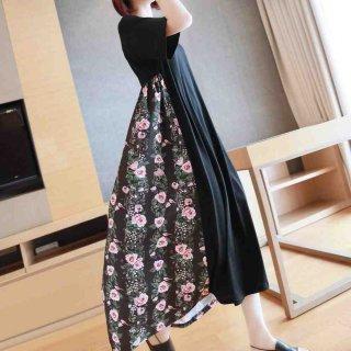 シャツワンピース 半袖 ロング 黒 マキシ レイヤードワンピ 花柄 レトロ ロングワンピース 体型カバー かわいい