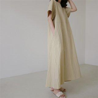 半袖ワンピース  大きいサイズ ビック ロング フレア  ルーズフィット 体型カバー シンプル マキシ丈 ナチュラル