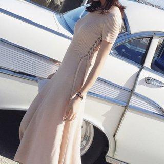 サマーニット ワンピース ウエストマーク マキシ レースアップ かわいい きれいめ プライベート ロング丈 半袖
