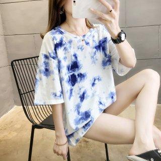 レディース 半袖tシャツ タイダイ 染め涼し気 清涼感 カジュアル ルーズフィット ブルー プライベート 着回し