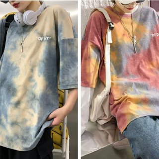 レディース Tシャツ ビッグシルエット ルーズフィット カジュアル 体型カバー かっこいい 絞り染め ストリート