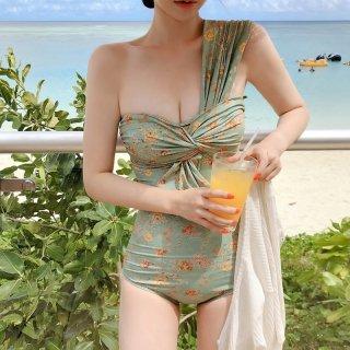 ワンピース水着 ワンショルダー 水着 レディース セクシー 花柄 夏服 胸元カバー 盛れる 体系カバー スタイルアップ きれいめ