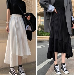 プリーツスカート 白 アシンメトリー かわいい エレガント シンプル Aライン 黒 ロングスカート ロング丈 きれいめ