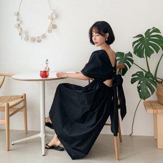 バックオープン ワンピース 黒 マキシワンピ バックコンシャス セクシー リボン Aライン きれいめ エレガント 半袖