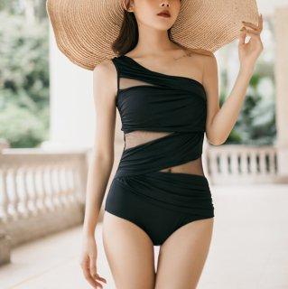ワンピース水着 ワンショルダー 水着 レディース ローレグ 黒 夏服  シースルー セクシー きれいめ