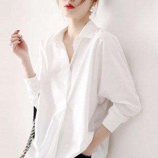 レディース 無地 シャツ 白 トップス シンプル ルーズシャツ オフィス 長袖 ロング ゆったり オーバーサイズ 秋服 30代 40代