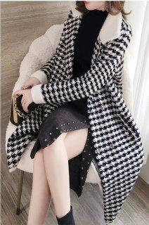 レディース 千鳥格子 コート ロングコート 秋 30代 40代 きれいめ 冬 秋冬 おしゃれ 大きいサイズ 通勤 上品 暖かい ロング 御呼ばれ 白