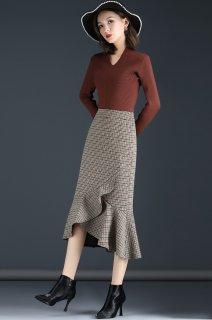 フィッシュテールスカート チェック柄 千鳥格子 スカート 秋 秋冬 スカート 30代 40代 大きいサイズ きれいめ おしゃれ フィッシュテール オフィス