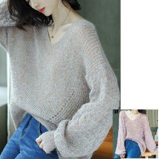 レディース トップス セーター ニット 秋 30代 40代 きれいめ ゆったり 大きいサイズ 長袖 ボリュームスリーブ 萌え袖 かわいい 薄手 大きめ