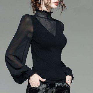 シースルーシャツ パフスリーブ ハイネック ボリューム袖 黒 タートルネックニット 秋 30代 40代 秋春 黒 長袖 大きいサイズ ゆったり ビジネス きれいめ