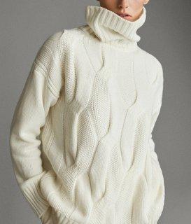 ケーブルニット ハイネックニット レディース 長袖 チュニック タートルネック 冬 長袖 30代 40代 トップス 白 ゆったり 楽ちん 大きめ かわいい きれいめ