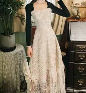レディース ワンピース ワンピースドレス ドレス レース 上品 切り替え 異素材 かわいい 透け感 パーティー 二次会 フレアスカート お呼ばれ きれいめ 長袖