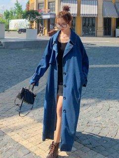 デニムコート レディース ロング マキシコート デニムジャケット 大きいサイズ オーバーサイズ きれいめ ボリューム袖 大人カジュアル 青 かわいい 長袖