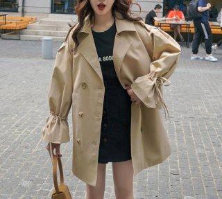 トレンチコート ショート レディース アウター コート スピーカースリープ かわいい 軽い 薄手 薄色 大きいサイズ オーバーサイズ 春服 スプリングコート きれいめ