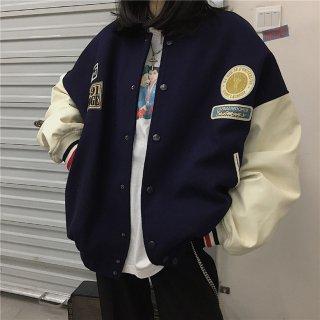 ユニセックス スタジャン レディース カジュアル メンズ ジャケット レディース 春 通勤 春服 オーバーサイズ ジャンパー ロゴ入り ビッグシルエット