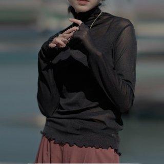 ハイネック シースルー トップス ブラウスシャツ シアーシャツ レディース メローネック 透け感 上品 お呼ばれ きれいめ 長袖 通勤 春トップス シフォンブラウス