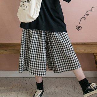 ギンガムチェック パンツ ワイドパンツ ガウチョ風 七分丈 ワイド パンツ 春服 レディース ウエストゴム 楽ちん ゆったり カジュアル トレンド デイリー チェック柄 大人可愛い