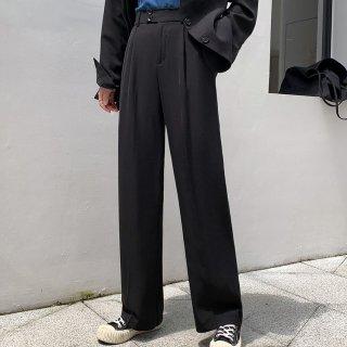 ウエストゴム パンツ レディース センタープレスパンツ ゆったり 楽ちん ハイウエスト 春服 30代 40代 無地 シンプル ワイドパンツ 黒 白 カーキ 通勤 オフィス セミフォーマル 脚長