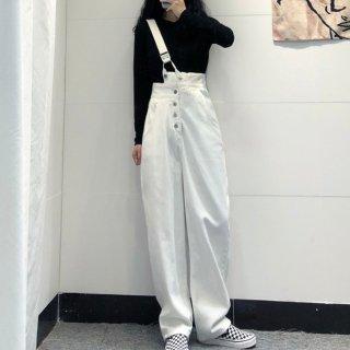 サスペンダーパンツ サロペット風 春服 レディース 30代 40代 パンツ ワイドパンツ デザインウエスト ワンショルダー デニム ホワイトデニム 白 ブラックデニム 黒 普段使い 休日 韓国