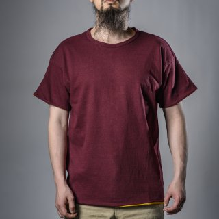 Reversible Tee Burgundy Yellow Loop Wheeled