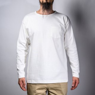 Heavy Weight Pocket Tee Long Sleeve White