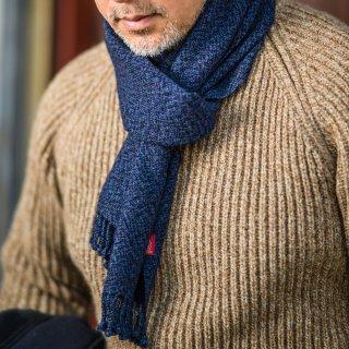 手織りストール ネイビー杢 カシミア