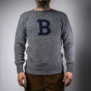 Bセーター グレー杢×ネイビー  B-sweater gray×navy