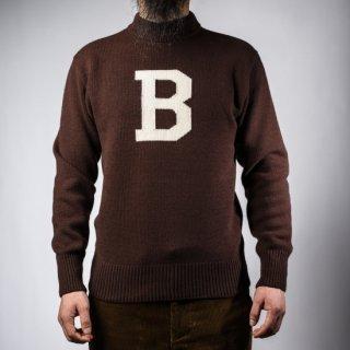 Bセーター モックネック ブラウン×ホワイト  B-Sweater Mock Neck Brown×White