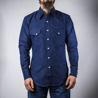 BONCOURA ウェスタン シャツ コットンフラノ ネイビー (Western shirt cotton flannel navy)
