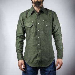 BONCOURA ウェスタン シャツ コットンフラノ オリーブ WesternBD Shirt Cotton Flannel Olive