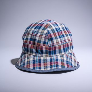 US navy hat reversible indigo plaid