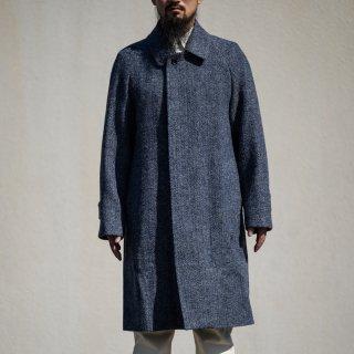 テーラード ステンカラーコート 手織りツイード ストームグレー (Tailored Balmacaan Coat Hand Woven Tweed Storm Gray)