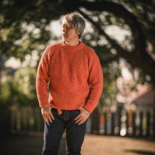 フィッシャーマンセーター デットストック オレンジネップ  Fisherman Sweater SALON LIMITED DEAD STOCK NEP YARN Orange