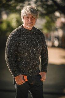 フィッシャーマンセーター デットストック チャコールネップ  Fisherman Sweater SALON LIMITED DEAD STOCK NEP YARN Charcoal