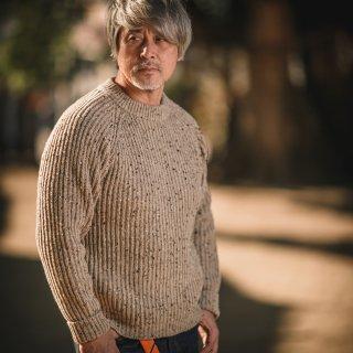 フィッシャーマンセーター デットストック オートミールネップ  Fisherman Sweater SALON LIMITED DEAD STOCK NEP YARN Oatmeal