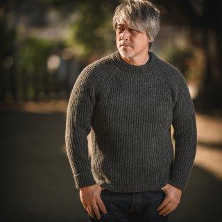 フィッシャーマンセーター デットストック アンゴラ チャコール グレー  Fisherman Sweater SALON LIMITED DEAD STOCK YARN Angora Charcoal