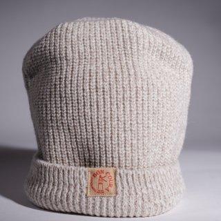 Knit Cap Heather white gray Wool Dead Stock Yarn