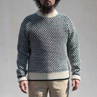 ポップコーンセーター シェットランド ナチュラル×ネイビー Popcorn Sweater Shetland Wool natural × navy