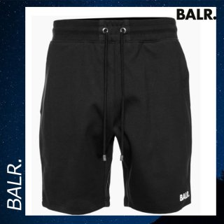 BALR. 【ボーラー】 ジップ スウェット ブラック ロゴ コットン ショートパンツ