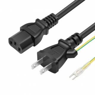 AC電源ケーブル 3ピンソケット(メス)⇔2ピンプラグ(オス) 1.2m PSE認定品 ACコンセント コネクタ アース線付き