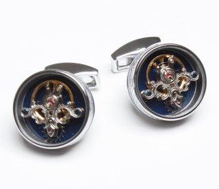 TATEOSSIAN(タテオシアン)カフリンクス 正規取扱店 CF0279-Rhodium & Blue Enamel Limited Edition of 300 pairs