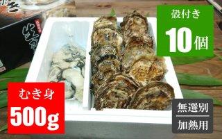 広島牡蠣 むき身500g/殻付き10個セット