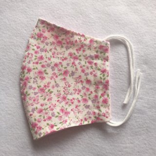 【受注生産】布製マスク【雅〜MIYABI】ピンク小花柄 はごろもランジェリー 立体マスク HM001-MIYABI-PKF