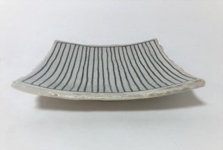 森永篤史 /  5寸角皿 十草(ストライプ)