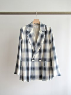 PHEENY(フィーニー) RAYON OMBRE CHECK DOUBLE-BREASTED JACKET [WOMEN]