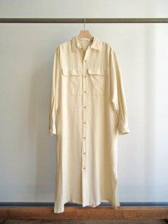 unfil(アンフィル) SILK & COTTON TWILL OPEN COLLAR SHIRT DRESS [WOMEN]