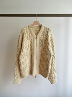 unfil(アンフィル) FRENCH MERINO&COTTON BOUCLE CABLE-KNIT ZIP UP CARDIGAN