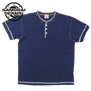 サムライジーンズ SAMURAI JEANS インディゴ ヘンリーネック Tシャツ SJIT19-101M