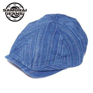 サムライジーンズ 藍しじら織り ハンチングキャップ 帽子 SJ301HN20-AI SAMURAI JEANS